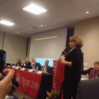 USFMEP President asking question at Rutgers Panel